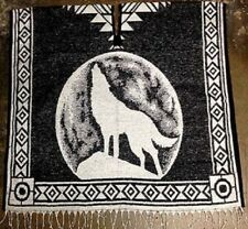 Poncho Black and White Costume Hand Woven Howling Wolf Acrylic Cotton Polyester
