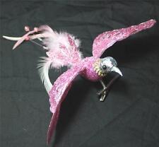 Hummingbird Bird Clip Wreath Decoration Craft New Pink Silver Christmas Ornament