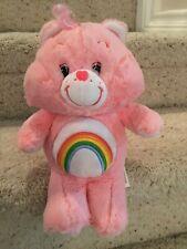 Care Bears 2017 Just Play Plush Pink Cheer Bear Rainbow Stuffed Animal Toy 12 In
