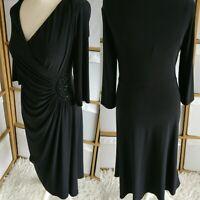 Laura Ashley Wrap Dress Size 16 Black Stretch Ruched Bodycon Midi 3/4 Sleeve