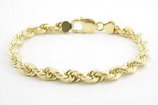 "Real 10k Yellow Gold Genuine 6mm Italian Diamond Cut Rope Chain Link Bracelet 8"""