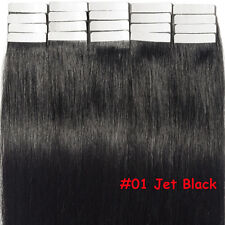 Tape in 60pcs 100% Real Remy Human Hair Extensions Skin Weft Full Head Blonde US