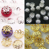 Lots 200Pc Gold /Silver Plated Hollow Out Flower Bead Caps Jewelry Findings 10MM