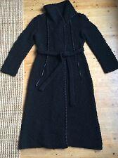 Laurel Escada long black wool cardigan coat size 36, 10 Uk