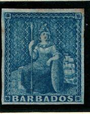 Barbados 1852 1d blue Brittania blued paper four good margins SG 3 Mint no gum