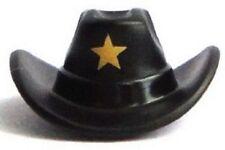 LEGO - Minifig, Headgear Hat, Cowboy with Gold Star Pattern - Black