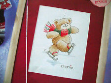 MARGARET SHERRY'S CHARLIE TEDDY BEAR SKATING ON THE ICE CROSS STITCH CHART