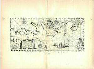 Nautical Map Henry Hudson Antique Photogravure Print 1903