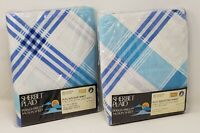 Vintage Sheet Bedding Combo Sears Percale Full Fitted & Flat Blue Sherbet Plaid