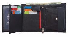 Men's European Cowhide Black Leather Trifold Wallet 3 ID,8 Slots, Change Pocket