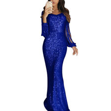 Women Prom Sequin Glitter Long Dresses Party Evening Cocktail Maxi Tassels Dress