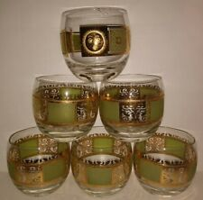 Mcm Vintage Atomic Period Gold & Lime Green Roly Poly Glasses: 5 plus 1 G Briard
