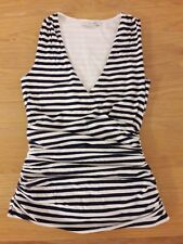 BODEN LADIES GORGEOUS Navy striped crossover ruched top UK size 6, unworn
