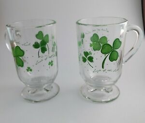 VINTAGE LIBBEY Shamrock Irish Coffee Glass Mug With Handle and base Clear Glass