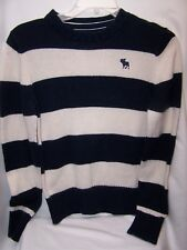 Abercrombie Boy's Sweater Crewneck Navy Stripe Long Sleeve cotton wool  blend LG