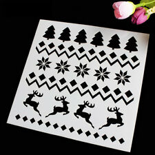2PCS Christmas Trees Cake Stencil Mold Baking Tool Merry Christmas Cookie Decor