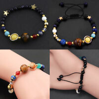 Universe Solar System Galaxy Eight Planets Stone Beads Braided Bracelet Gift HOT