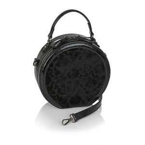 Ruby Shoo Alberta Black Velvet Bag Handbag Round Cross Body (Matches Emma Boots)