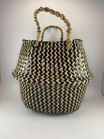 Black & Tan Woven Seagrass Belly Flower Plant Pot Laundry Basket Home Decor