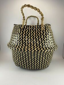Black & Tan Woven Seagrass Belly Flower Plant Pot Laundry Basket Home Decor
