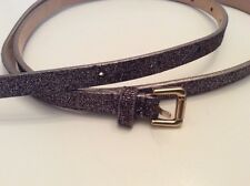 J Crew Silver Belt Size M Medium Genuine Leather 34185 Glitter Sparkle Holiday