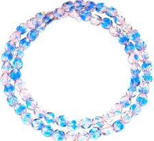 CZ330 Pink & Blue Bi-Color 6mm Fire-Polished Faceted Round Czech Glass Beads 16""