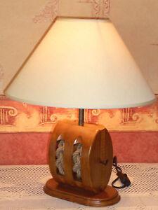 Lampada da Tavolo Di Legno - Puleggia Blocco,Lampada Scrivania,Lampada
