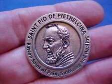 Rare St Padre PIO POCKET TOKEN Saint Medal Prayer Healing Pain and Suffering