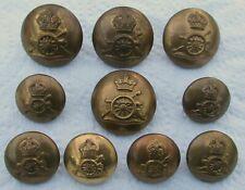 "Set 10x British Army:""ROYAL ARTILLERY BRASS BUTTONS"" (25mm-19mm, WW1-WW2 Period)"