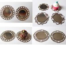 Teller Tortenplatte Tablett Metall Herz Puppenstube Puppenhaus Miniatur 1:12