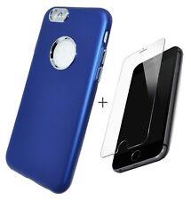 Coque Etui Silicone Bleu vitre de protection en verre trempé pour Apple iPhone 7