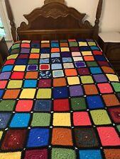 Crochet Afghan Blanket Queen/Full Handmade Homemade Usa New Colorblock
