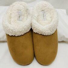 Dearfoams Slippers Mules slides memory foam faux sheepskin women sz 7 brown tan