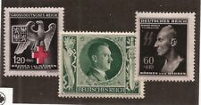 1942 Nazi B&M Heydrich death mask Red Cross Eagle stamp set + Hitler B'day MNH