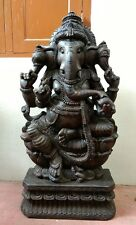 3 ft Wooden Ganesh Ganesha sculpture Handcarved Statue Hindu Temple Idol Murti