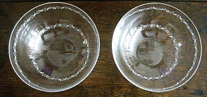 C. 1900   Pair of Antique Clear Glass Hand-Etched Bowls With White Trim