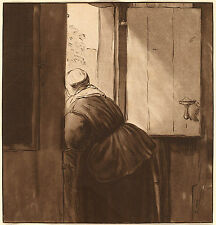 Rembrandt Reproductions: Woman Leaning Over Lower Door: Fine Art Print