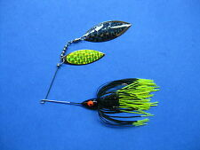 3/8 oz Spinner Bait black/ch tips bass musky pike jig tackle lure lot T38Wpr-200