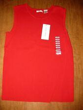 LAURA ASHLEY retro red ribbed tank-top NEW vtg medium rayon nylon w/ tags