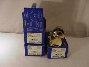 SCHLAGE F40-BEL Bell Privacy Door Knob Set Bright Brass  LOT OF 3