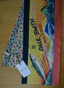 PAUL SMITH Japanese MACKEREL fish Japan floral scarve silk wool scarf