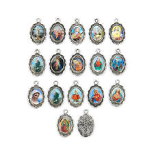 50Pcs Catholic Religious Faith Enamel Art Medals Charms Pendants Holy Collection