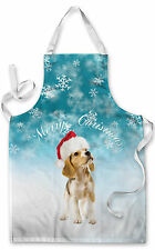 MERRY CHRISTMAS PUPPY DESIGN APRON KITCHEN BBQ COOKING PAINTING GREAT GIFT IDEA