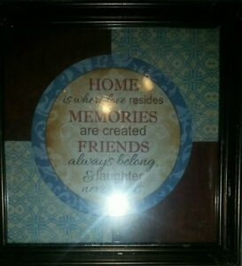 """Home Is Where..."" Quote with Frame-New and Sealed!"