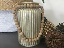 Designer Candle Holder Jar Brushed Brass with White Antique style wooden beads