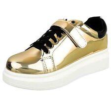 Sneakers Freizeitschuhe Sportschuhe Flach Plateau Bequem Gold Metal Schwarz 39