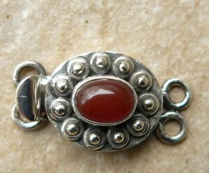 "Sterling Silver Box Clasp Double Strand Carnelian Gemstone 1""long"