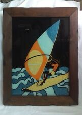 Vtg Wind Surfing Glass Glitter Picture Art in Wood Frame I.B.M. Reverse Painting
