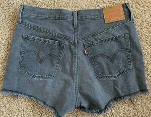 New Levi's 501 Jean Shorts High Waist Cut-Off Gray / Black Cotton Denim Women 28