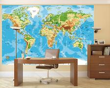 "Prepasted Wall Mural Foto Wall Decor World Map Wallpaper 82.7"" X 55.5"" BZ1003"